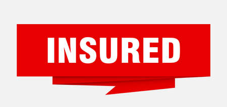 insured sign. insured paper origami speech bubble. insured tag. insured banner
