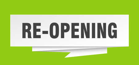 re-opening sign. re-opening paper origami speech bubble. re-opening tag. re-opening banner Stock Vector - 111827678