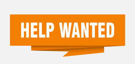 help wanted sign. help wanted paper origami speech bubble. help wanted tag. help wanted banner