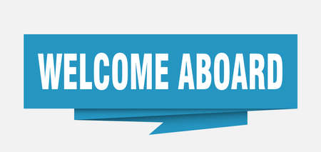 welcome aboard sign. welcome aboard paper origami speech bubble. welcome aboard tag. welcome aboard banner Illustration