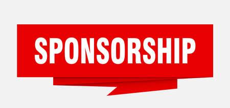 sponsorship sign. sponsorship paper origami speech bubble. sponsorship tag. sponsorship banner
