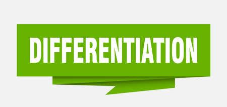 differentiation sign. differentiation paper origami speech bubble. differentiation tag. differentiation banner