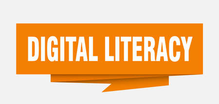 digital literacy sign. digital literacy paper origami speech bubble. digital literacy tag. digital literacy banner