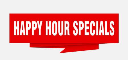 happy hour specials sign. happy hour specials paper origami speech bubble. happy hour specials tag. happy hour specials banner