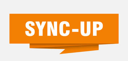 sync-up sign. sync-up paper origami speech bubble. sync-up tag. sync-up banner Illustration