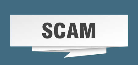 scam sign. scam paper origami speech bubble. scam tag. scam banner