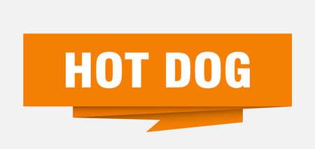 hot dog sign. hot dog paper origami speech bubble. hot dog tag. hot dog banner Illustration
