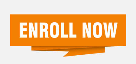 enroll now sign. enroll now paper origami speech bubble. enroll now tag. enroll now banner