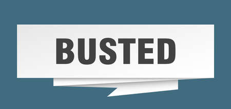 busted sign. busted paper origami speech bubble. busted tag. busted banner Illustration