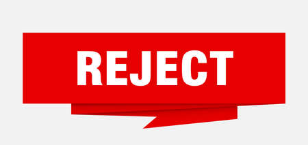 reject sign. reject paper origami speech bubble. reject tag. reject banner Ilustração