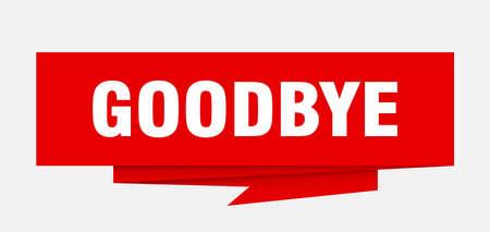 goodbye sign. goodbye paper origami speech bubble. goodbye tag. goodbye banner Illustration