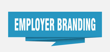 employer branding sign. employer branding paper origami speech bubble. employer branding tag. employer branding banner Çizim