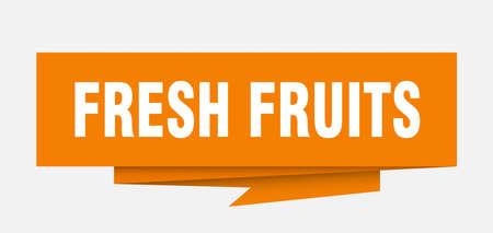 fresh fruits sign. fresh fruits paper origami speech bubble. fresh fruits tag. fresh fruits banner