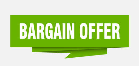 bargain offer sign. bargain offer paper origami speech bubble. bargain offer tag. bargain offer banner Illustration