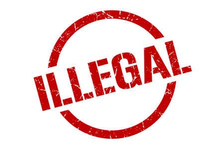 illegal red round stamp Illustration