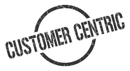 customer centric black round stamp
