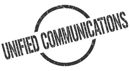 unified communications black round stamp
