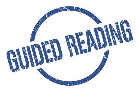 guided reading blue round stamp Illusztráció