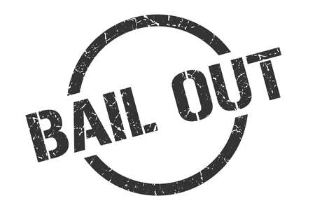 bail out black round stamp
