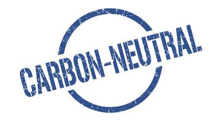 carbon-neutral blue round stamp 向量圖像