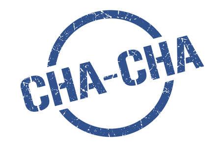 cha-cha blue round stamp