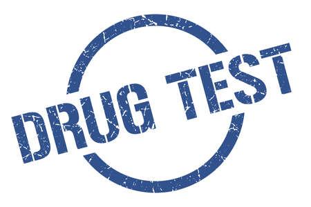 drug test blue round stamp Illustration