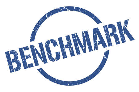 benchmark blue round stamp