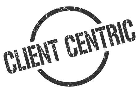 client centric black round stamp