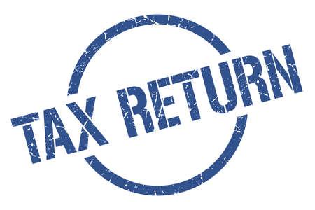 tax return blue round stamp
