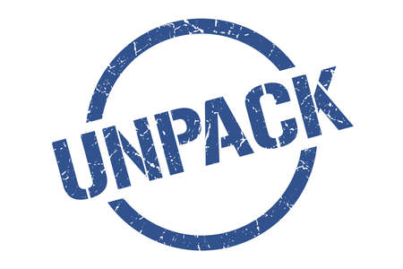 unpack blue round stamp Illustration