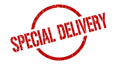 special delivery red round stamp