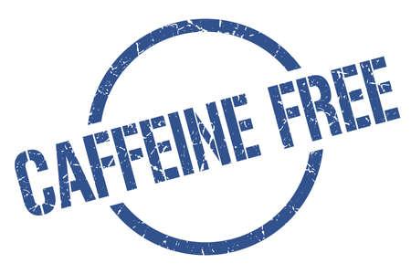 caffeine free blue round stamp