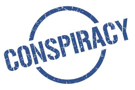 conspiracy blue round stamp Illustration