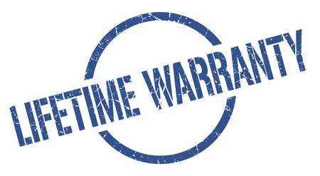 lifetime warranty blue round stamp Illustration