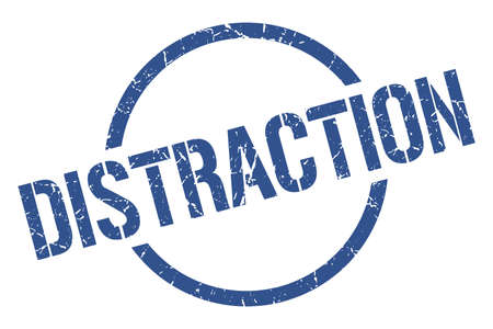 distraction blue round stamp