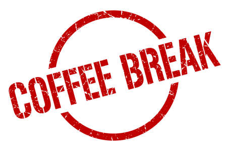 coffee break red round stamp
