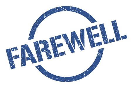 farewell blue round stamp