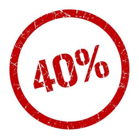 40% red round stamp Vector Illustratie