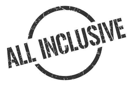 all inclusive black round stamp