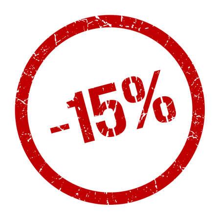 -15% red round stamp