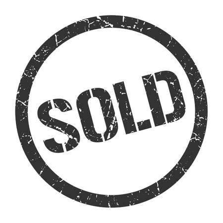 sold black round stamp Vector Illustration