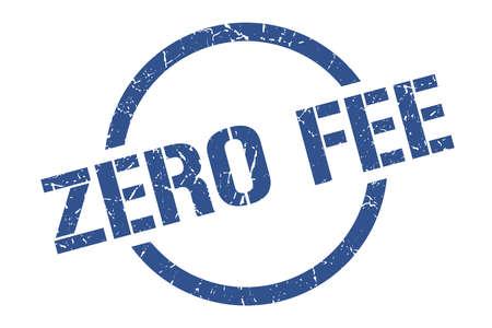 zero fee blue round stamp