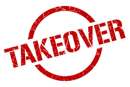 takeover red round stamp