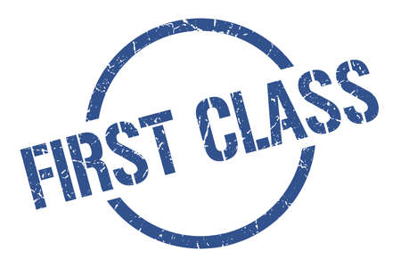 first class blue round stamp Illustration