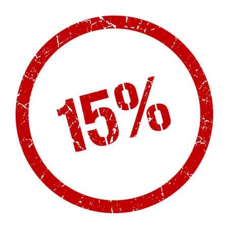 15% red round stamp