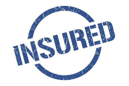 insured blue round stamp