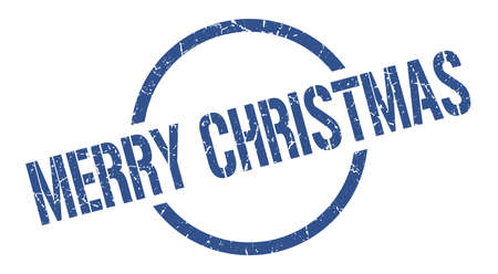 merry christmas blue round stamp Illustration