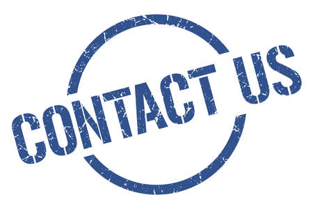 contact us blue round stamp