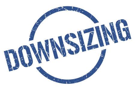 downsizing blue round stamp
