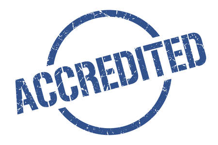 accredited blue round stamp